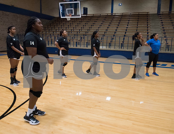 John Tyler High School volleyball players line up for a spiking drill during practice at the high school gym Wednesday August 2, 2017.  (Sarah A. Miller/Tyler Morning Telegraph)