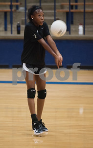 John Tyler High School volleyball player Symone Morris bumps the ball during practice at the high school gym Wednesday August 2, 2017.  (Sarah A. Miller/Tyler Morning Telegraph)