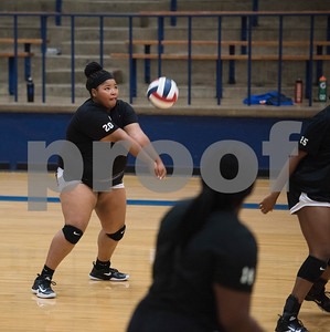 John Tyler High School volleyball player Kharis McFarland bumps the ball during practice at the high school gym Wednesday August 2, 2017.  (Sarah A. Miller/Tyler Morning Telegraph)