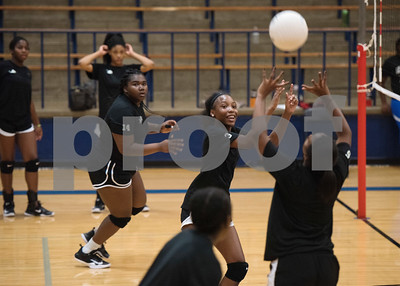 John Tyler High School varsity volleyball players practice at the high school gym Wednesday August 2, 2017.  (Sarah A. Miller/Tyler Morning Telegraph)