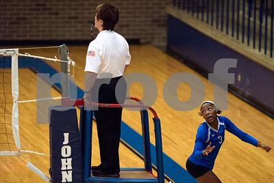 John Tyler freshman Symone Morris looks back after she ran to save a ball during a high school volleyball game at John Tyler High School in Tyler, Texas, on Tuesday, Aug. 22, 2017. (Chelsea Purgahn/Tyler Morning Telegraph)