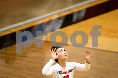 Robert E. Lee sophomore Aliyah Shirley (7) serves the ball during a high school volleyball game at Robert E. Lee High School in Tyler, Texas, on Tuesday, Aug. 22, 2017. (Chelsea Purgahn/Tyler Morning Telegraph)