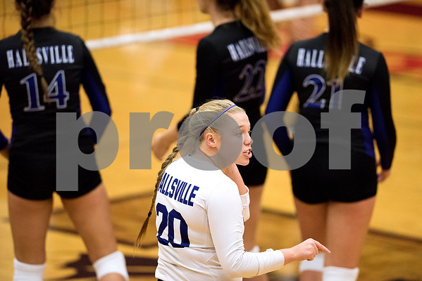 Hallsville senior Alexis Simmons (20) talks to her teammates before a point during a high school volleyball game at Robert E. Lee High School in Tyler, Texas, on Tuesday, Aug. 22, 2017. (Chelsea Purgahn/Tyler Morning Telegraph)