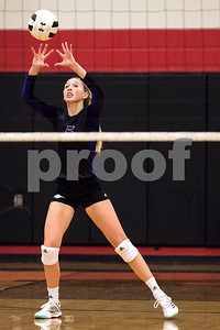 Hallsville junior Addison McDermott (5) sets the ball during a high school volleyball game at Robert E. Lee High School in Tyler, Texas, on Tuesday, Aug. 22, 2017. (Chelsea Purgahn/Tyler Morning Telegraph)
