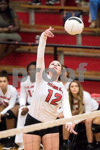 Robert E. Lee junior Neely Williams (12) spikes the ball during a high school volleyball game at Robert E. Lee High School in Tyler, Texas, on Tuesday, Aug. 22, 2017. (Chelsea Purgahn/Tyler Morning Telegraph)