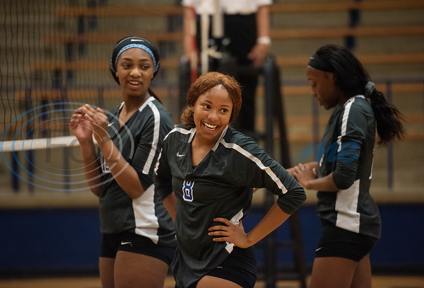John Tyler High School's (8) Michiah McFarland smiles as the Lady Lions substitute players in their match against Harmony in the Tyler ISD Invitational Tournament on Thursday Aug. 22, 2019.  (Sarah A. Miller/Tyler Morning Telegraph)
