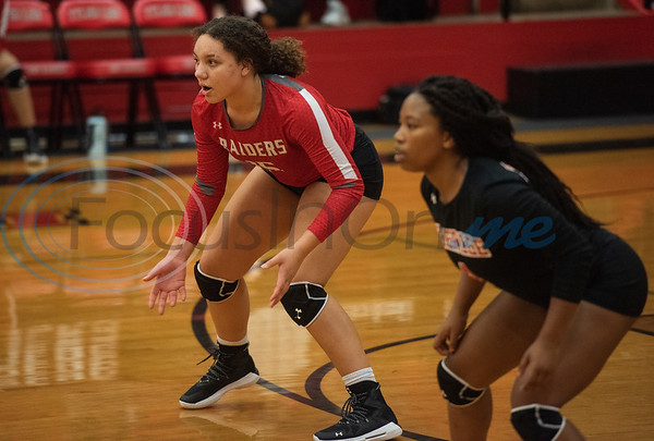 Robert E. Lee High School's Hope Casel (15) and Anasha Martin (4) take their positions for the start of a match against Quitman in the Tyler ISD Invitational Tournament on Thursday Aug. 22, 2019.  (Sarah A. Miller/Tyler Morning Telegraph)