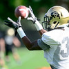 CU defensive back Josh Moten catches a pass during practice at the University of Colorado in Boulder, Colorado August 23, 2012.  DAILY CAMERA MARK LEFFINGWELL