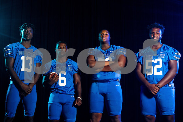John Tyler wide receiver Ke'Andre Street (13), running back Roderick Hawkins (6), offensive and defensive lineman Chance Billington (70) and offensive and defensive lineman JaBralen Yarber (52) at the Pigskin Preview photoshoot at Caldwell Auditorium in Tyler, Texas, on Wednesday, July 18, 2018. (Chelsea Purgahn/Tyler Morning Telegraph)