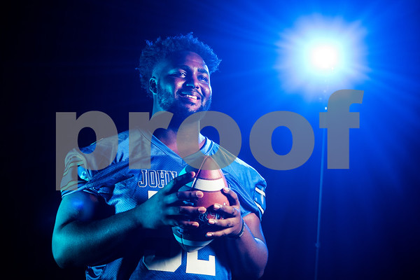 John Tyler Offensive and defensive lineman JaBralen Yarber (52) at the Pigskin Preview photoshoot at Caldwell Auditorium in Tyler, Texas, on Wednesday, July 18, 2018. (Sarah A. Miller/Tyler Morning Telegraph)