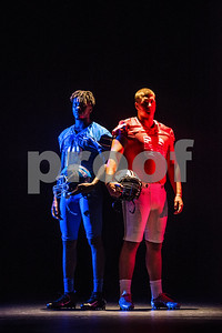 John Tyler wide receiver Ke'Andre Street (13) and Robert E. Lee offensive lineman Beaux Limmer (54) at the Pigskin Preview photoshoot at Caldwell Auditorium in Tyler, Texas, on Wednesday, July 18, 2018. (Chelsea Purgahn/Tyler Morning Telegraph)