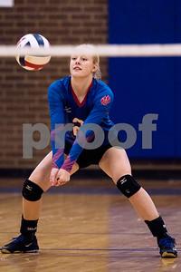 Alba-Golden junior Ginny Carson (2) bumps the ball during the Tyler Invitational volleyball tournament at John Tyler High School in Tyler, Texas, on Friday, Aug. 25, 2017. (Chelsea Purgahn/Tyler Morning Telegraph)
