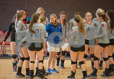 Bullard High School volleyball coach Cristy O'Bannon talks to her players during a timeout in their game against Bishop Thomas K. Gorman in the Tyler Invitational held Friday at Robert E. Lee High School.  (Sarah A. Miller/Tyler Morning Telegraph)