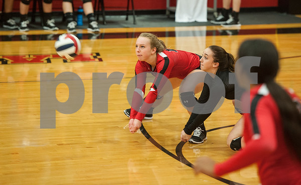 Robert E. Lee's and Blythe Heisey and Taylor Hale dive to bump the ball as they play Eustace in the Tyler Invitational held Friday at Robert E. Lee High School.  (Sarah A. Miller/Tyler Morning Telegraph)