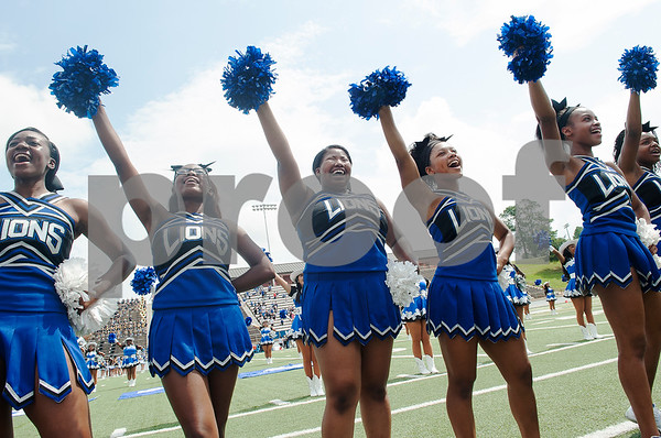The John Tyler High School cheerleading team sings the school song before the football game against Plano West Saturday August 27, 2016 at Christus Trinity Mother Frances Rose Stadium.  (Sarah A. Miller/Tyler Morning Telegraph)