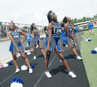 The John Tyler High School cheerleading team performs on the sidelines during the football game against Plano West Saturday August 27, 2016 at Christus Trinity Mother Frances Rose Stadium.  (Sarah A. Miller/Tyler Morning Telegraph)