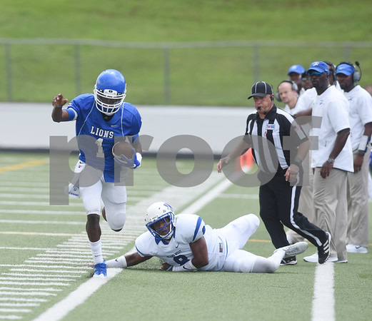 John Tyler High School's Bryson Smith is ran out of bounds by Plano West's Titus Wall Saturday August 27, 2016 at Christus Trinity Mother Frances Rose Stadium.  (Sarah A. Miller/Tyler Morning Telegraph)