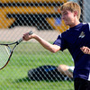 Legacy's Mike Rosencrans returns the ball during his doubles match against Windsor's Clay Varboc and Bailey Smith at Legacy High School in Broomfield, Colorado August 28, 2012.  DAILY CAMERA MARK LEFFINGWELL