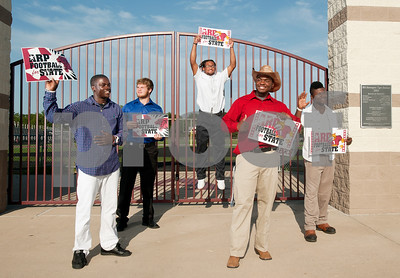 copyright 2012 Sarah A. Miller/Tyler Morning Telegraph  Arp football players Michael Roberson, Jeremy Shelton, Mikechell Potts, Sam Stroup and Marcalas Johnson are campaigning for their team to take the state championship.
