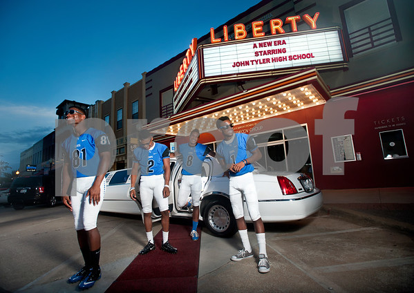 copyright 2012 Sarah A. Miller/Tyler Morning Telegraph John Tyler's (81) Tyus Bowser, (2) Darion Flowers, (8) Fred Ross and (1) Greg Ward are star power offense players that will be a part of the program's new era with first-year coach Ricklan Holmes.