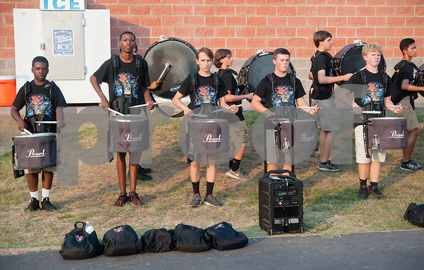 The Robert E. Lee High School drum line practices before the REL football game against Marshall held at Christus Trinity Mother Frances Rose Stadium.  (Sarah A. Miller/Tyler Morning Telegraph)
