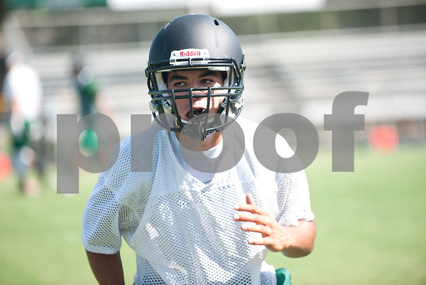 Bishop Thomas K. Gorman football player senior running back and safety Josh Johnson keeps his eye on the ball during practice at McCallum Stadium Wednesday in Tyler.  (photo by Sarah A. Miller/Tyler Morning Telegraph)