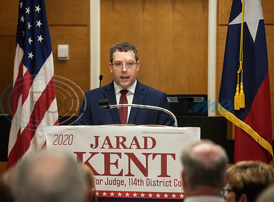 114th Judge Candidate Jarad Kent speaks during his press conference at the Smith County Courthouse on Monday Aug. 5, 2019.  (Sarah A. Miller/Tyler Morning Telegraph)