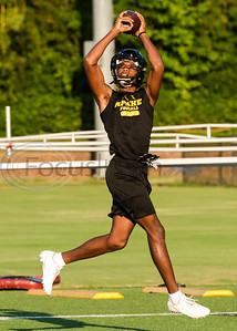 Defensive back Cam Adams catches the ball in a drill during the first football practice of the season Wednesday, Aug. 7, 2019, at Tyler Junior College in Tyler.   (Cara Campbell/Tyler Morning Telegraph)