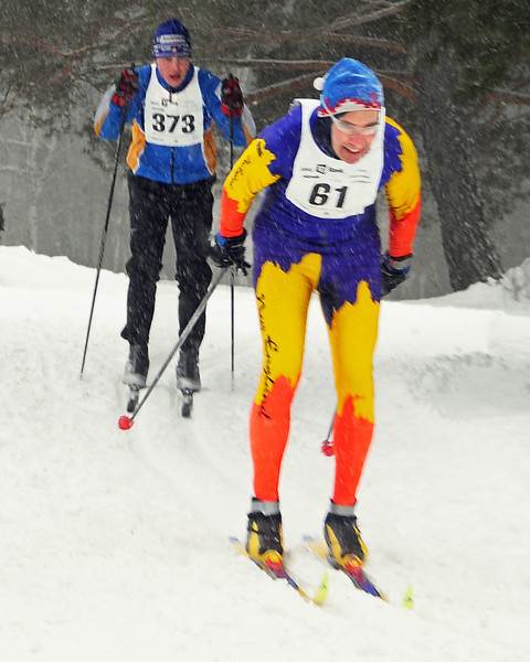 Peter Hendel (#61), of Plymouth, NH, competed in the 8th Annual TD Bank White Mountain Classic 30K ski race, hosted by the Jackson Ski Touring Foundation, on January 21st, 2012, in Jackson, NH. Competitors used the classic cross-country ski technique, in a 30 kilometer (18.64 miles) marathon on the trail systems in and around Jackson Village.