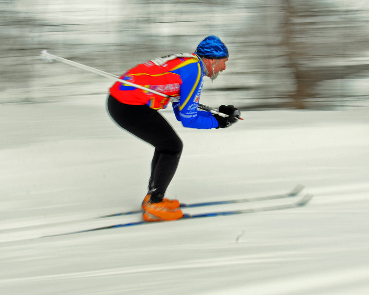 David McDermott, of Fryeburg, Maine, speeds downhill, during the 8th Annual TD Bank White Mountain Classic 30K ski race, hosted by the Jackson Ski Touring Foundation, on January 21st, 2012, in Jackson, NH. Competitors used the classic cross-country ski technique, in a 30 kilometer (18.64 miles) marathon on the trail systems in and around Jackson Village.