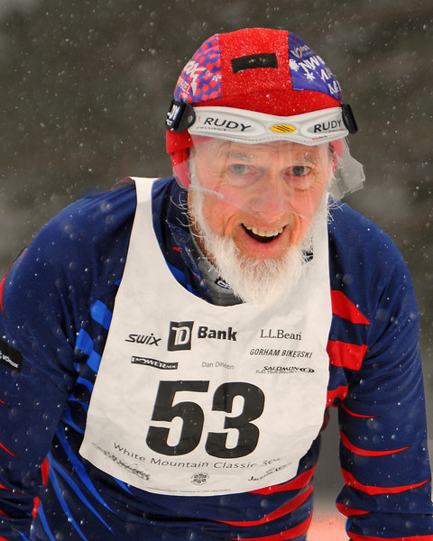 George Hall, of Craftsbury Common, Vermont, enjoyed competing in the 8th Annual TD Bank White Mountain Classic 30K ski race, hosted by the Jackson Ski Touring Foundation, on January 21st, 2012, in Jackson, NH. Competitors used the classic cross-country ski technique, in a 30 kilometer (18.64 miles) marathon on the trail systems in and around Jackson Village.