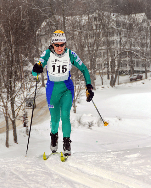 Sally Swenson, of North Conway, NH, and mother of 3-time US Olympian, Carl Swenson, competed in the 8th Annual TD Bank White Mountain Classic 30K ski race, hosted by the Jackson Ski Touring Foundation, on January 21st, 2012, in Jackson, NH. Competitors used the classic cross-country ski technique, in a 30 kilometer (18.64 miles) marathon on the trail systems in and around Jackson Village.