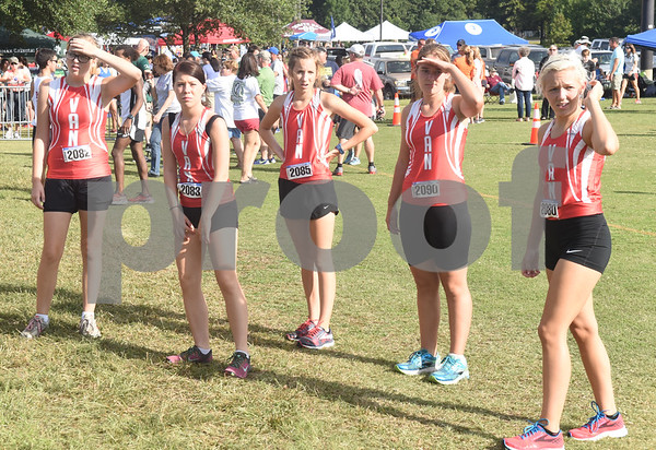 Cross country runners from Van High School look for a spot on the starting line before the Tyler Lee Cross Country Classic Saturday morning held at the University of Texas at Tyler.  (Sarah A. Miller/Tyler Morning Telegraph)
