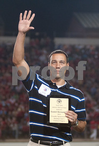 photo by Sarah A. Miller/Tyler Morning Telegraph  Daniel Hernandez, John Tyler class of 1994 all state soccer player and professional soccer player in the MLS and Mexican League is honored during a celebration of the TISD 2013 Athletic Hall of Fame inaugural class Friday night at Trinity Mother Frances Rose Stadium.