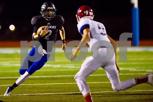 All Saints quarterback Tanner Towns (2) runs the ball during a high school football game at All Saints Episcopal School in Tyler, Texas, on Friday, September 15, 2017. (Chelsea Purgahn/Tyler Morning Telegraph)