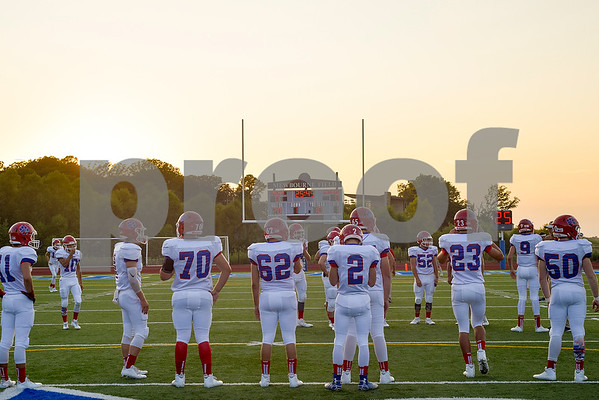 Alba Golden players warm up before a high school football game at All Saints Episcopal School in Tyler, Texas, on Friday, September 15, 2017. (Chelsea Purgahn/Tyler Morning Telegraph)