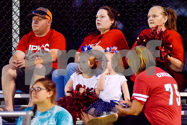 Alba Golden fans watch the game during a high school football game at All Saints Episcopal School in Tyler, Texas, on Friday, September 15, 2017. (Chelsea Purgahn/Tyler Morning Telegraph)