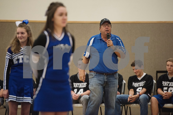Coach Joe Permenter speaks at the first ever pep rally held at East Texas Christian Academy Friday to promote success for their 6-man football team. The ETCA football team plays King's Academy Saturday Sept. 16, 2017 at home at 1 p.m.   (Sarah A. Miller/Tyler Morning Telegraph)