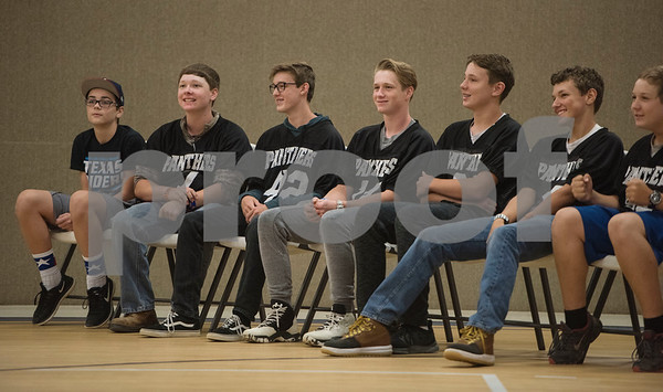 The football team is honored at the first ever pep rally held at East Texas Christian Academy Friday to promote success for their 6-man football team. The ETCA football team plays King's Academy Saturday Sept. 16, 2017 at home at 1 p.m.   (Sarah A. Miller/Tyler Morning Telegraph)