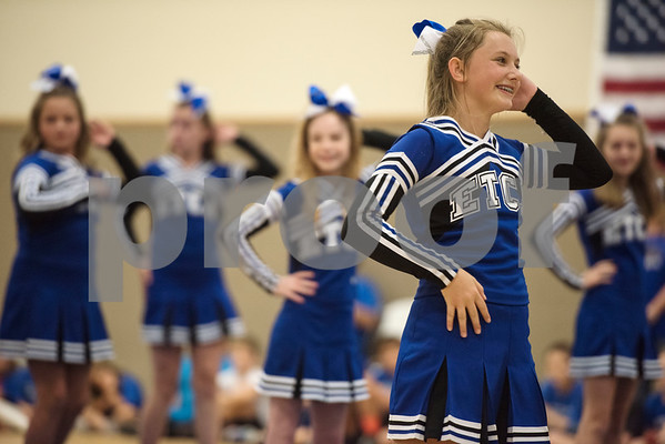 Cheerleaders perform at the first ever pep rally held at East Texas Christian Academy Friday to promote success for their 6-man football team. The ETCA football team plays King's Academy Saturday Sept. 16, 2017 at home at 1 p.m.   (Sarah A. Miller/Tyler Morning Telegraph)