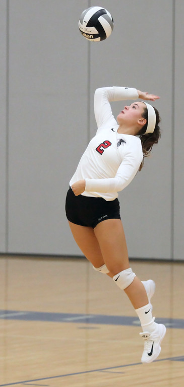 . Hannah Reynolds of Firelands serves against North Ridgeville during the opening set. Randy Meyers -- The Morning Journal
