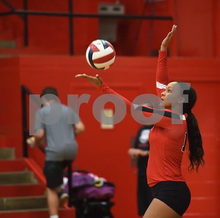 Robert E. Lee High School's De'Ja Hamilton serves the ball as they play Mesquite Tuesday night Sept. 20, 2016 at home in Tyler.  (Sarah A. Miller/Tyler Morning Telegraph)