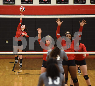 Robert E. Lee High School's Mallory Collins serves the volleyball as they play Mesquite Tuesday night Sept. 20, 2016 at home in Tyler.  (Sarah A. Miller/Tyler Morning Telegraph)