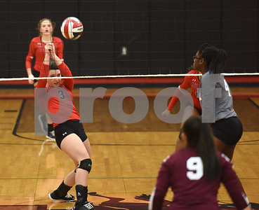 Robert E. Lee High School's Mallory Collins saves the volleyball as they play Mesquite Tuesday night Sept. 20, 2016 at home in Tyler.  (Sarah A. Miller/Tyler Morning Telegraph)