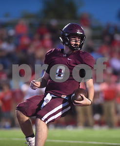Arp High School's Tyler Stewart looks to the sidelines at the end of a play in the first quarter of their game at home against Hughes Springs Thursday September 1, 2016.  (Sarah A. Miller/Tyler Morning Telegraph)