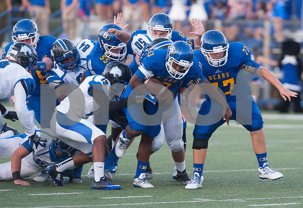 Brownsboro's (13) Kevion Ross carries the ball in the first half of their game at home at Bear Stadium against Spring Hill Friday night September 2, 2016.  (Sarah A. Miller/Tyler Morning Telegraph)