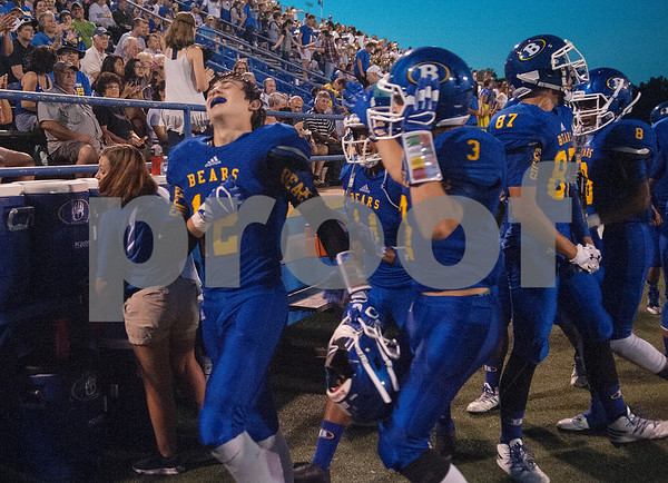 Brownsboro High School's (12) Clayton Orr reacts after making an interception in the first half of their game at home at Bear Stadium against Spring Hill Friday night September 2, 2016.  (Sarah A. Miller/Tyler Morning Telegraph)
