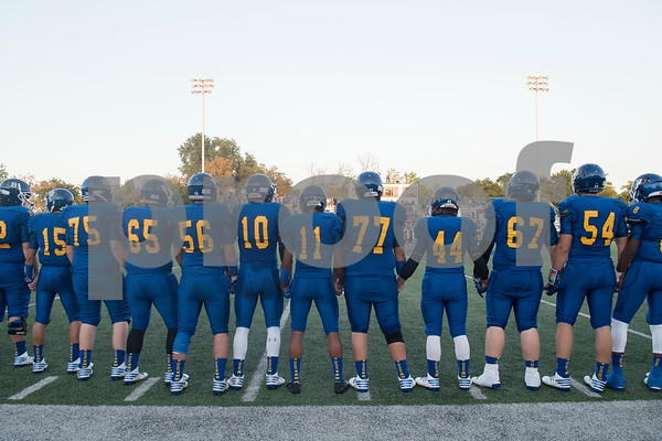 The Brownsboro High School football team takes the field for the coin toss at the start of their game at home at Bear Stadium against Spring Hill Friday night September 2, 2016.  (Sarah A. Miller/Tyler Morning Telegraph)