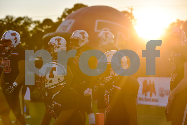 Robert E. Lee football players warm up before a high school football game at Christus Trinity Mother Frances Stadium in Tyler, Texas, on Friday, Sept. 22, 2017. (Chelsea Purgahn/Tyler Morning Telegraph)