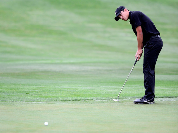 CU's Brad Oraee putts during the second day of the Mark Simpson Colorado Invitational at the Colorado National Golf Club in Erie, Colorado September 25, 2012.  DAILY CAMERA/ MARK LEFFINGWELL